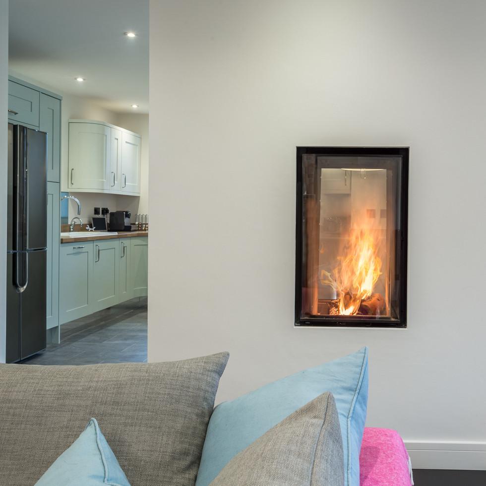 cosy modern home in Cheltenham fireplace