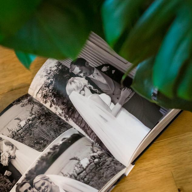 inside a custom bespoke wedding photo album