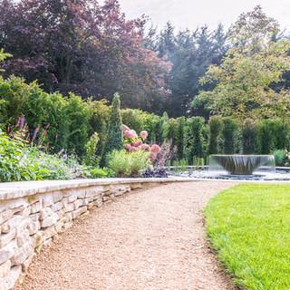 water feature in landscaped garden