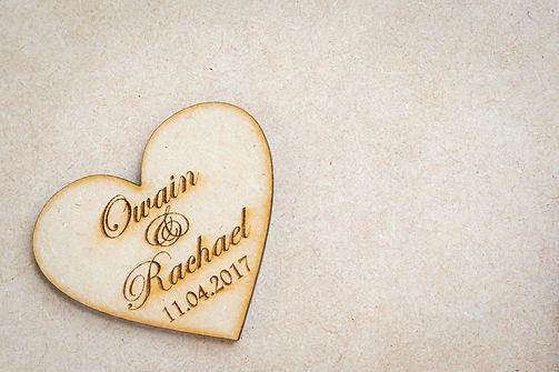 engraved wooden wedding favour