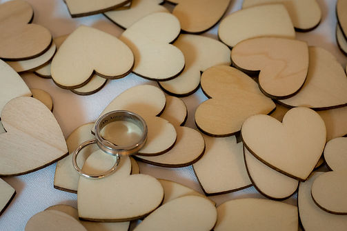 wooden cutout hearts for wedding