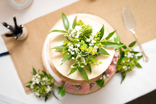 wedding cake adorned with flowers