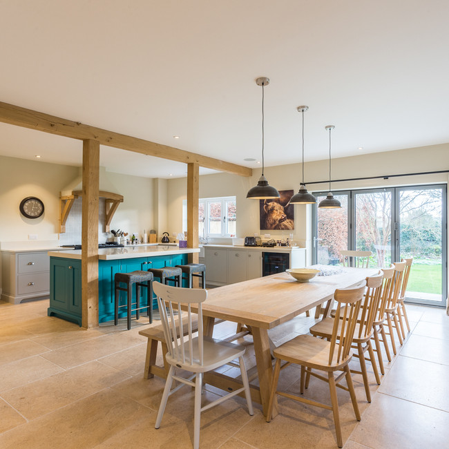 modern open plan kitchen set in hampshire countryside