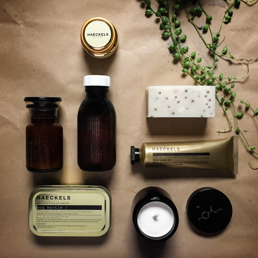 Haeckels product flatlay on brown parcel paper