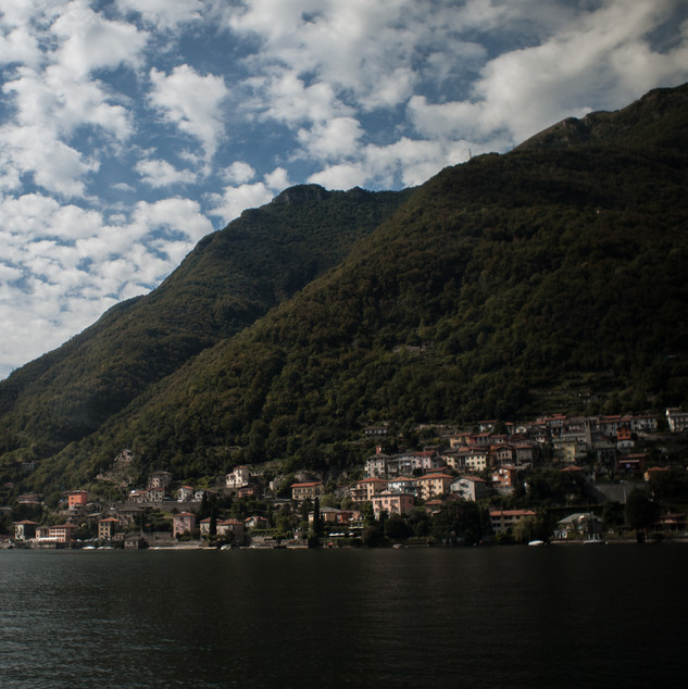 Wanderlust Lake Como houses and black lake