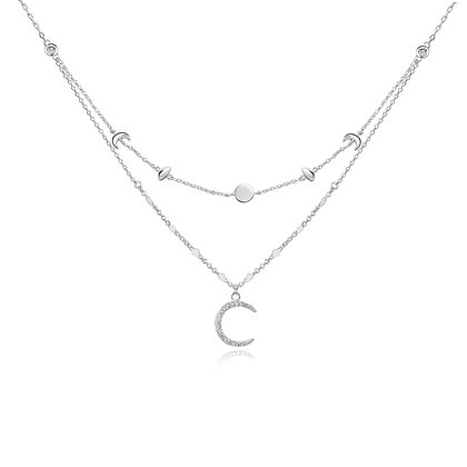 Love By The Moon - Moon Phases Silver Necklace
