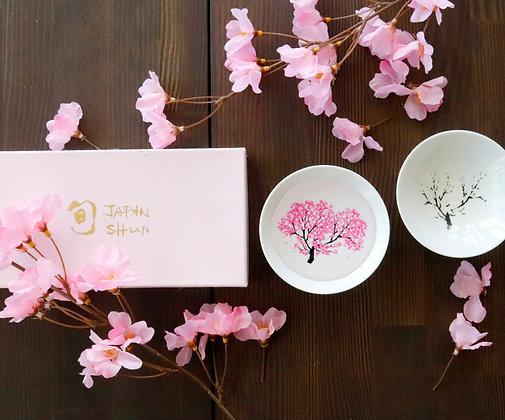 丸モ高木陶器 - 白平盃 ‧ 櫻花感溫(禮盒兩杯入)
