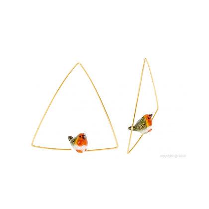 Nach - Mini Robin Bird Creoles Triangle Earring