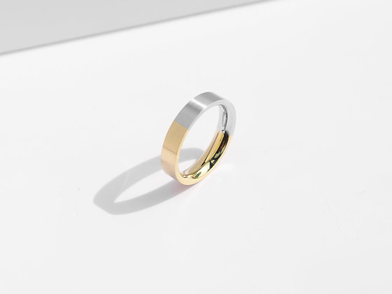 MADEGREY - Brushed Two-Tone Ring | Gold