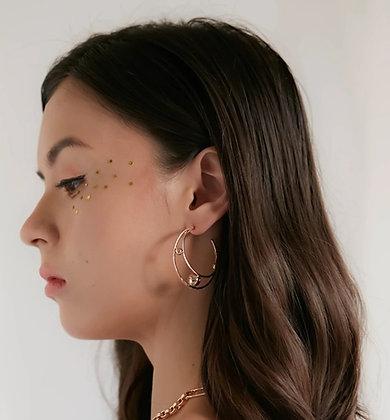 Love By The Moon - CZ GOLD HOOP EARRINGS - ORBIT