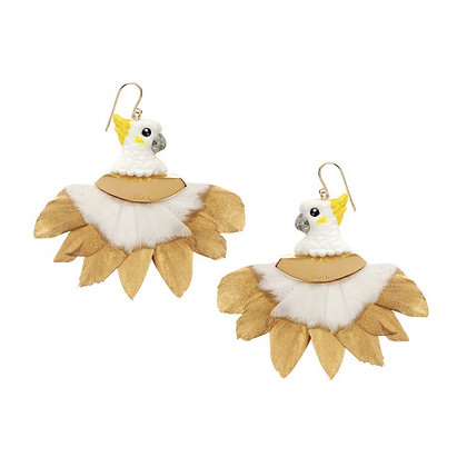 Nach Bijoux WHITE COCKATOO HEAD WITH FEATHER EARRINGS