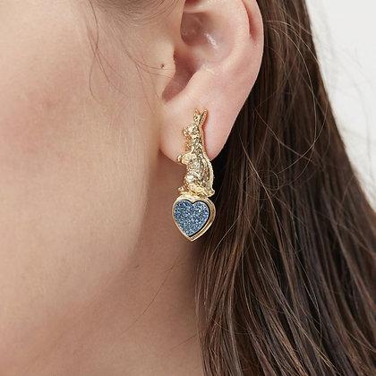 Love By The Moon - Sweet Talk Clip On Earrings (Blue Druzy)