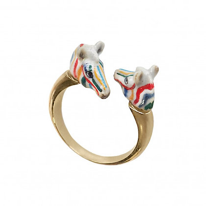NACH BIJOUX - Colorful Zebra Face to Face Ring