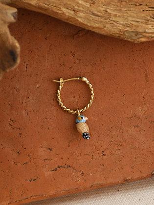NACH BIJOUX - Chubby Blue Bird Mini Hoop Earrings J387