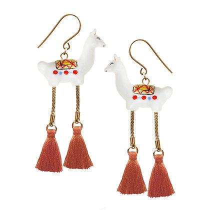 NACH BIJOUX - White Lama With Pompom Earrings