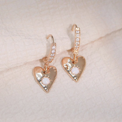 Love By The Moon - OPAL GOLD HEART HUGGIE EARRINGS - HEART SPACE