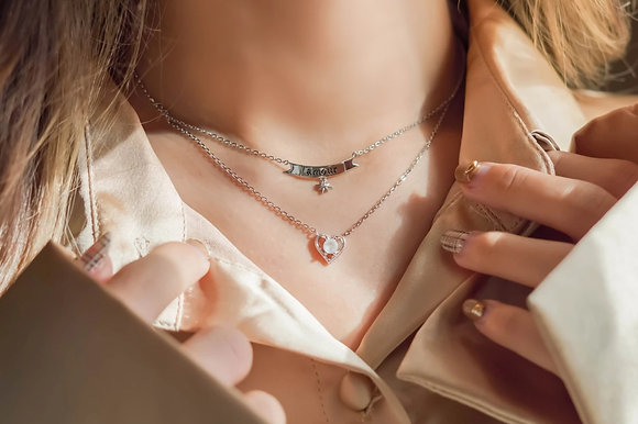 Love By The Moon - Moonstone Silver Layered Necklace - Amour