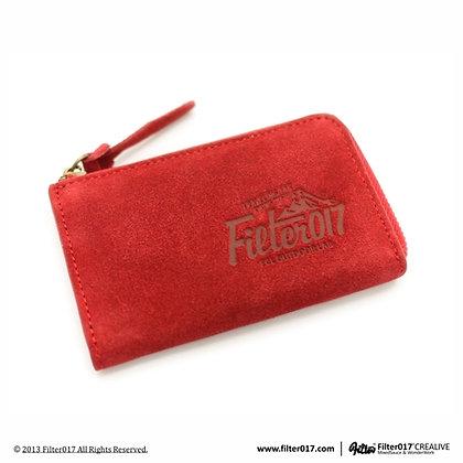 Outdoor Logo 麂皮零錢鑰匙包 /  紅