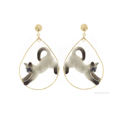 Nach - Running grey cat earrings