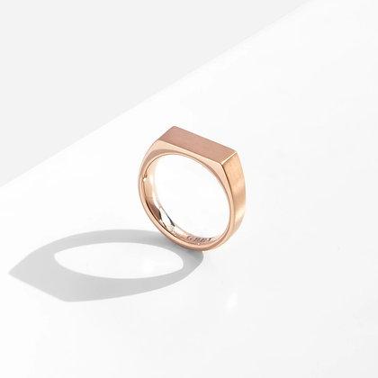 MADEGREY - Dual Texture Signet Ring | Rose Gold