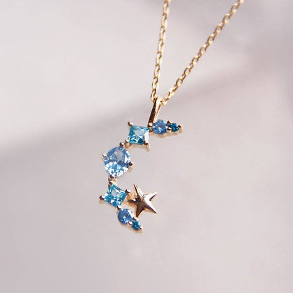 Love By The Moon - Walk By the Sea Blue Necklace