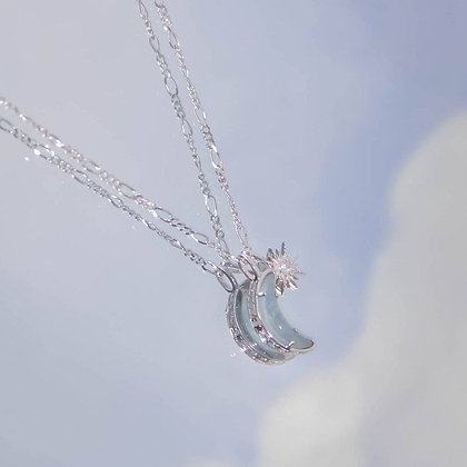 Love By The Moon - Wishing Moon Silver Necklace (Aquamarine)