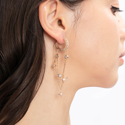 Love By The Moon - CZ GOLD EARRINGS - HALO