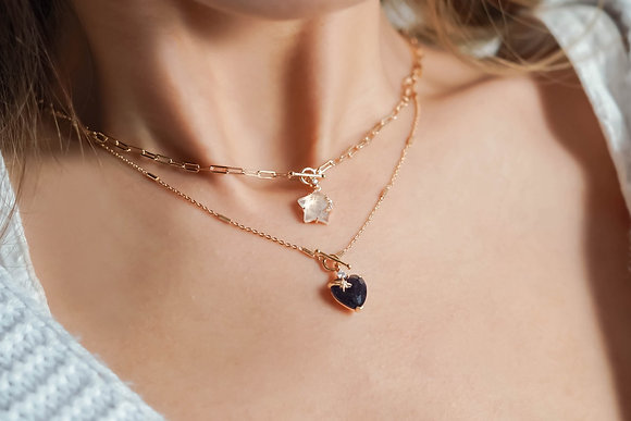 Love By The Moon - IOLITE TOGGLE GOLD NECKLACE - HEART