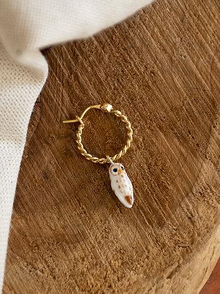 NACH BIJOUX - White Owl Mini Hoop Earrings J385