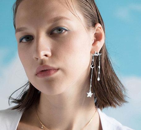 Love By The Moon - Mini Planet Silver Earrings