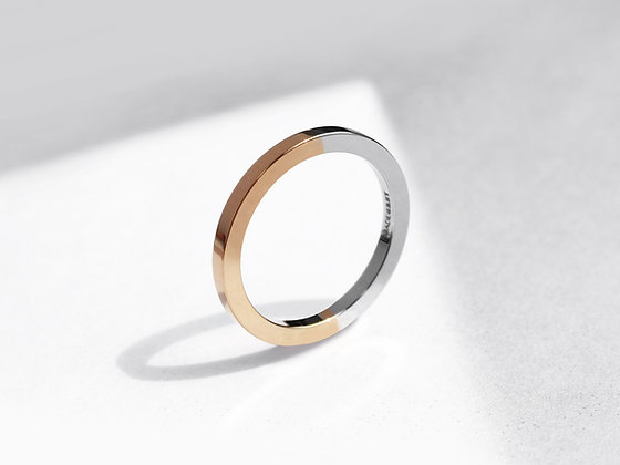 MADEGREY - Two Tone Minimal Ring | Polished Rose Gold