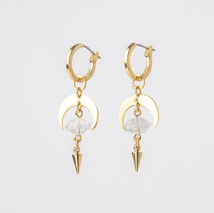 AGARIC GARDEN - LUNAR 月牙白水晶金色耳環