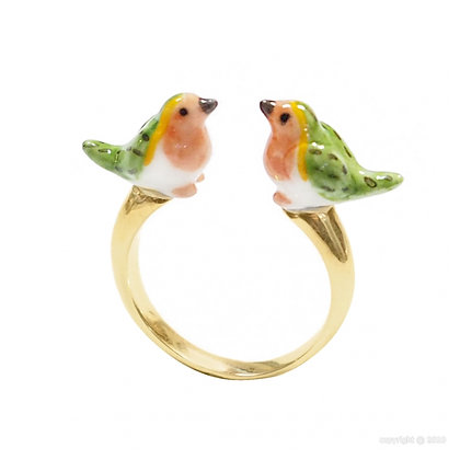Nach - Adjustable ring Robin Bird Face to Face