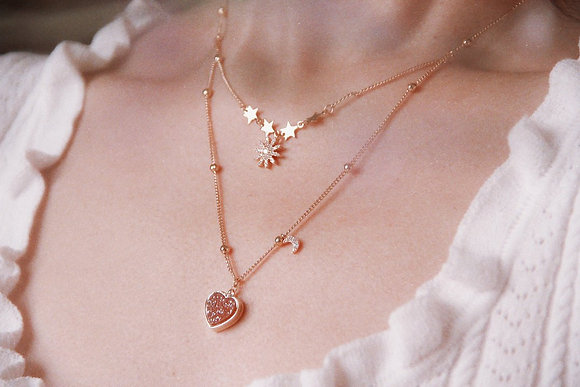 Love By The Moon - Love Note Gold Necklace (Pink Druzy)