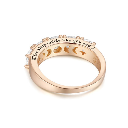Love By The Moon - CZ GOLD RING - YOU & I