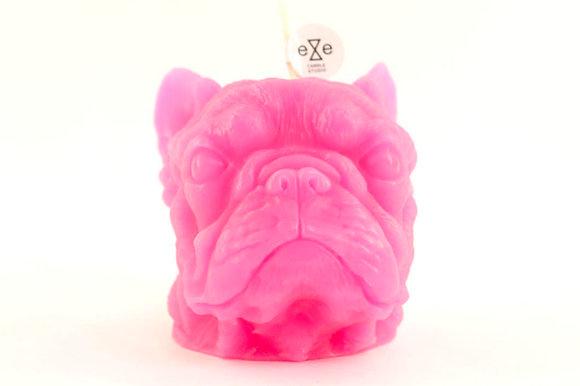 EYECANDLE - 螢光桃紅色法國鬥牛犬造型蠟燭