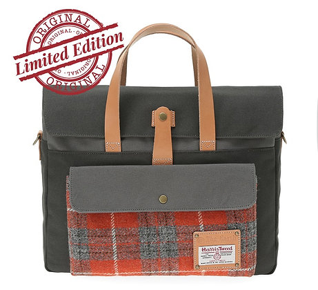 HARRIS TWEED BRIEFCASE - ORANGE
