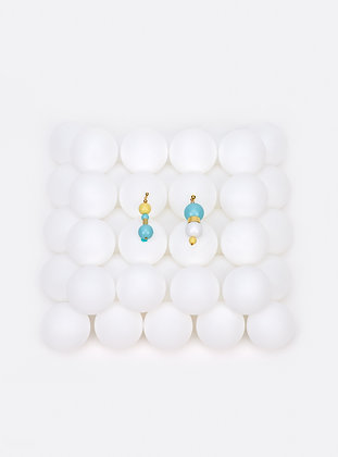 ZO-EE - ICE BLUE LEMON BUBBLE GUM EARRINGS