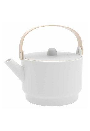 1616 Tea pot - white glazed & grey