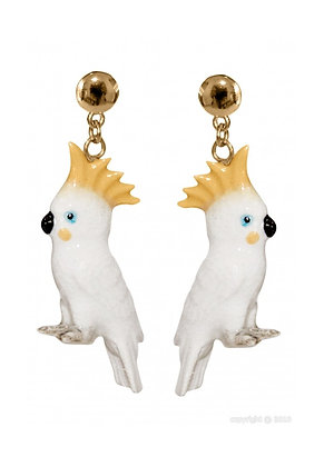 Nach - White Cockatoo Bird Earrings