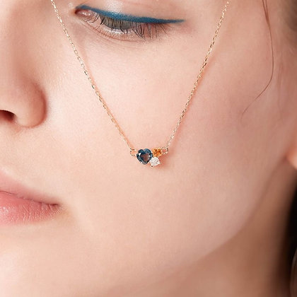Love By The Moon - Love Story Necklace (Blue Topaz, Citrine,Moonstone)