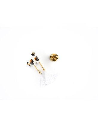 NACH BIJOUX - Brown & Black Cat With Pompom Pin P068