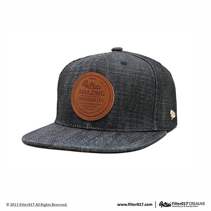 LOGO LEATHER LABEL SNAPBACK CAP (Deep blue denim)