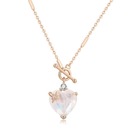 Love By The Moon - MOONSTONE TOGGLE GOLD NECKLACE - HEART