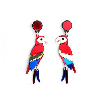Scarlet Macaw Dangle Earrings