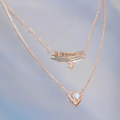 Love By The Moon - Moonstone Gold Layered Necklace - Amour