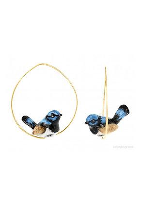 Nach - Blue Fairywrent Bird Earrings
