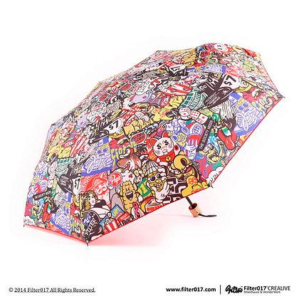 Dazzle Shield Folding Umbrella (Colorful/Red)