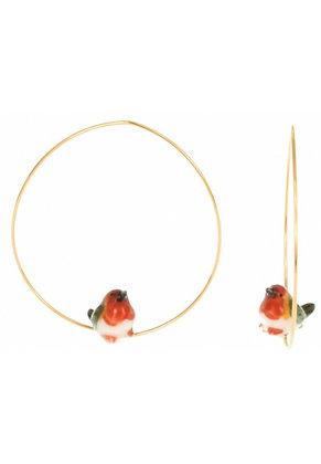 Nach - Mini robin Bird Creoles Earring