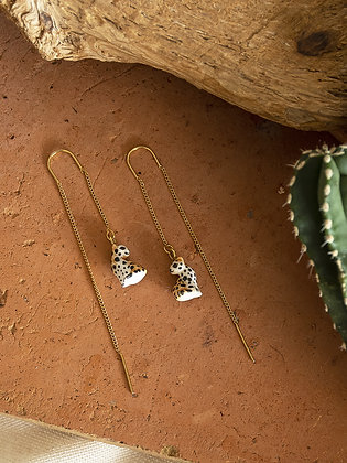 NACH BIJOUX - Sitting Leopard Long Earrings J400